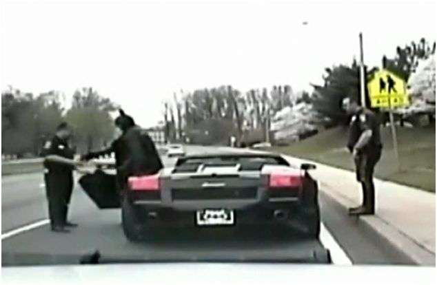 Cats Driving Cars And Getting Pulled Over : Even batman gets pulled over in his gallardo by the cops