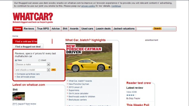 The homepage of WhatCar, biatch?