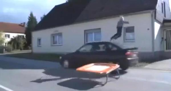 German kid flies through the air during the prank