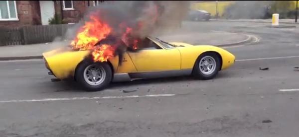 Iconic Lamborghini Miura engulfed in flames