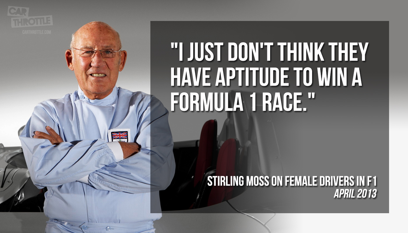 A contentious quote by racing legend Sir Stirling Moss causes controversy