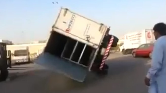 The lorry bounces on the tyres then lands the right way up