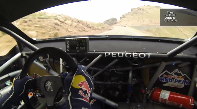 Yeah that's Loeb bouncing off the rev limiter at 150mph, mid corner, 4 thousand metres up