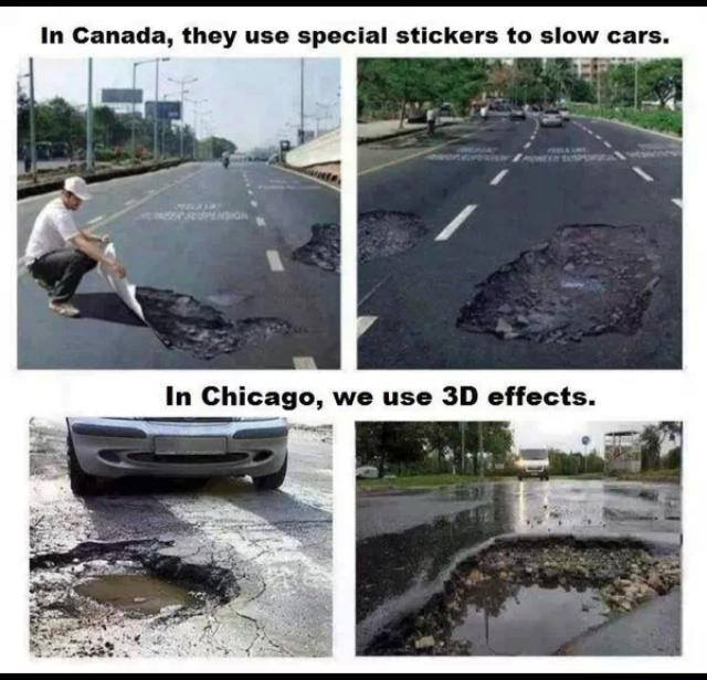Canada v Chicago potholes