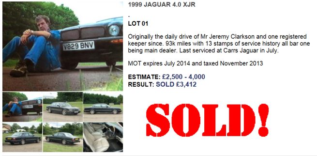 Clarkson Jag Sold