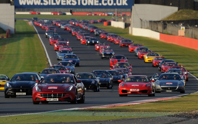 Ferrari-parade-at-Silverstone-Circuit-front-view-of-all-cars