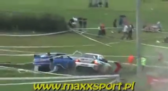 Mitsubishi Evo Subaru Impreza crash 2