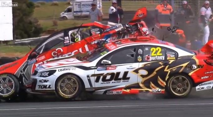 V8 Supercars Crashing In Slow Motion Is Beautifully