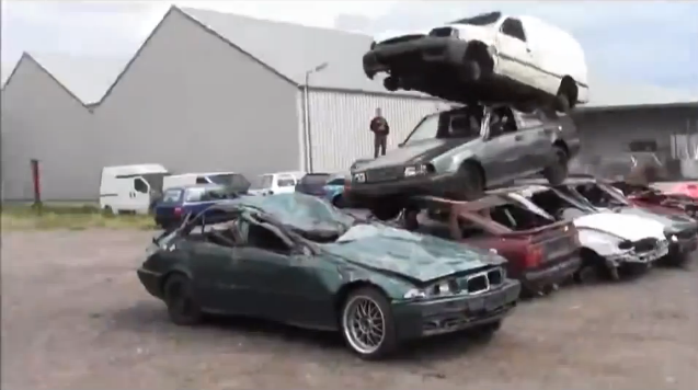 These Guys Get Bored In A Scrapyard And Murder An E36 BMW