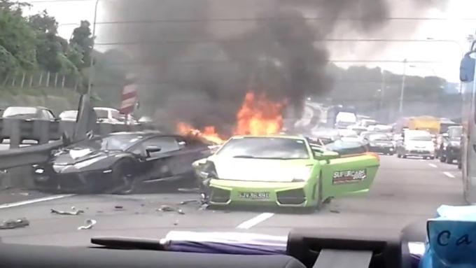 Watching Three Lamborghinis Burn Will Break Your Heart