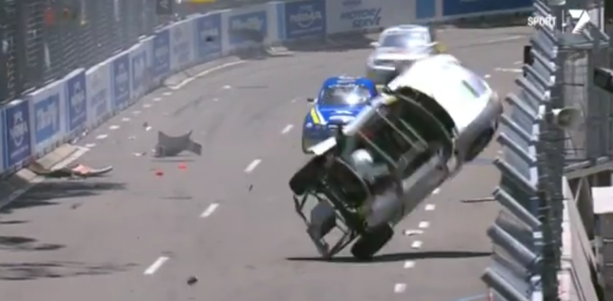 This Aussie Racer Slides Backwards Into A Concrete Wall