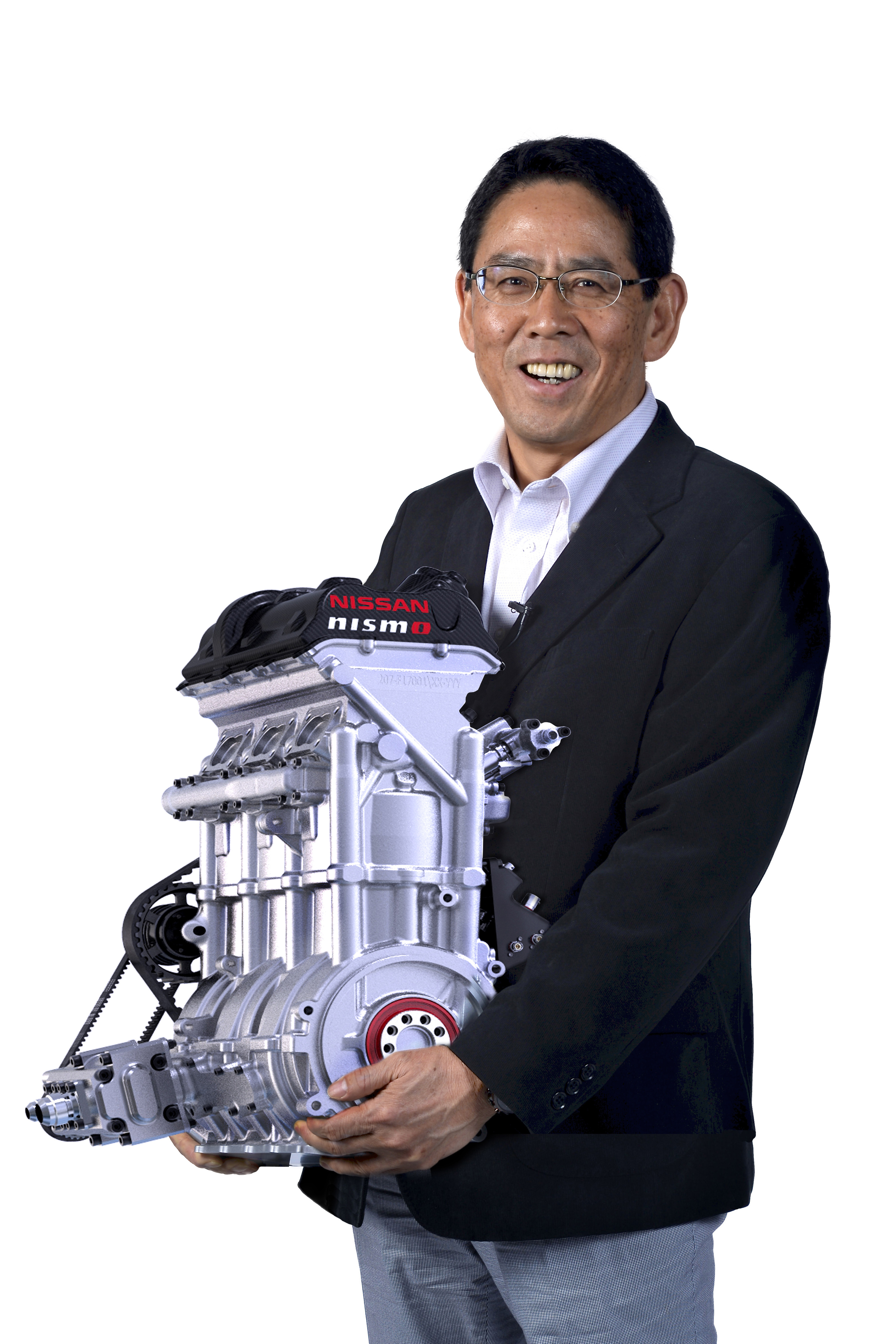 Nissan's engine pictured with Nismo President, Shoichi Miyatani