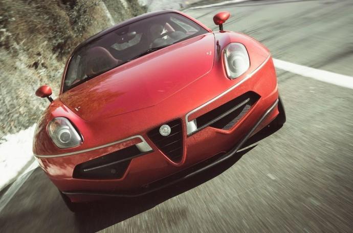 2013-Alfa-Romeo-Disco-Volante-Touring-Front-Close-Up-Cruising