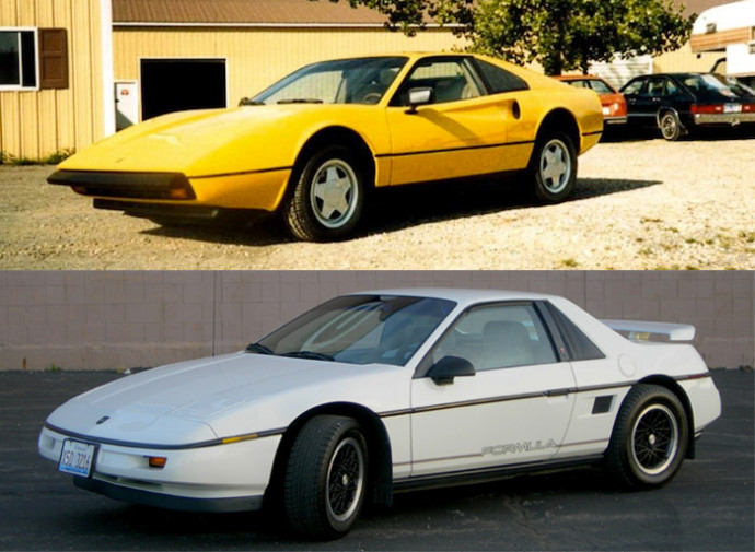 The Pontiac Mera (above) is based on the mid-engined Fiero (below)